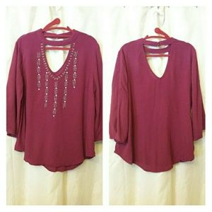 Red Camel Plus Beaded Burgundy Blouse Top 1X